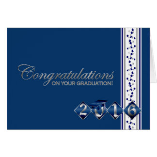 2016 Blue & Silver Graduation Congratulations Card