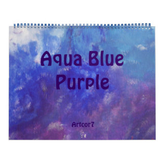 2016 Calendar Abstract Art Blue Purple Huge 2 Page