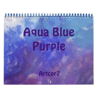 2016 Calendar Art Aqua Blue Purple Two Page
