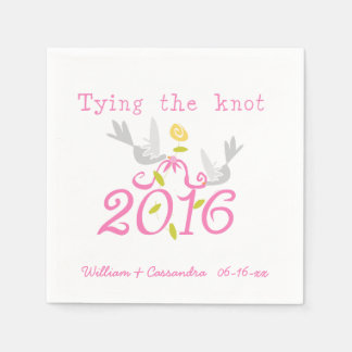 2016 Doves Tying the Knot Wedding Paper  Napkins Disposable Napkins