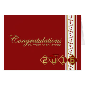 2016 Red & Gold Graduation Congratulations Card