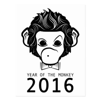 2016 year of the monkey (bowtie) postcard