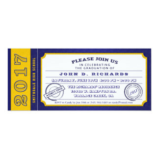 2017 Blue Gold Ticket Graduation Party Invitation