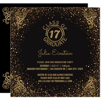 2017 Graduation Party | Black Elegant Gold Glitter Card