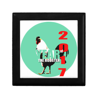 2017 Rooster Year in Green Circle box 1 Small Square Gift Box