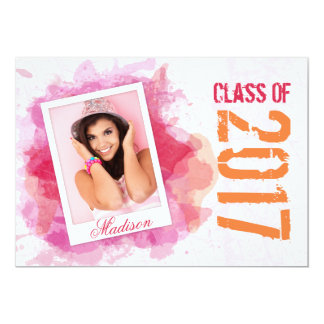 2017 Wild Watercolor Splash Graduation Flat Card