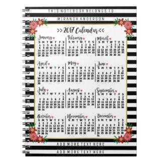 2017 Year Monthly Calendar Flowers Stripe Add Text Spiral Notebooks