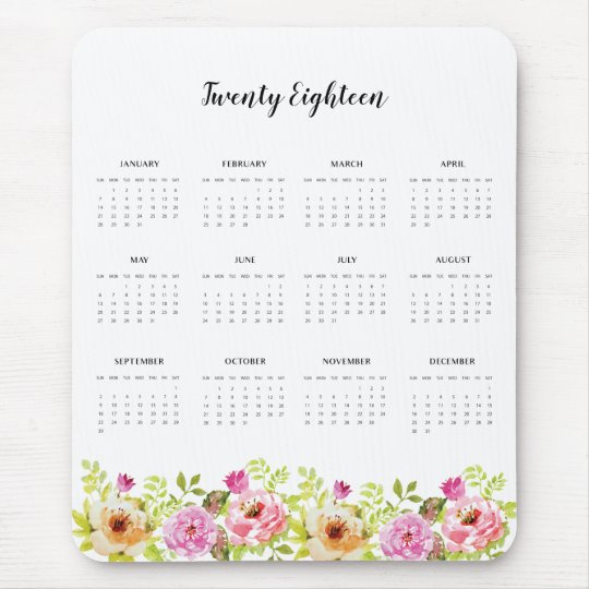 2018 Calendar Spring Flowers Mouse Pad