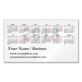 2018 calendar template magnetic business card