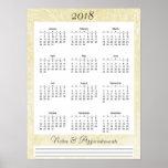 2018 Cream coloured Calendar Poster
