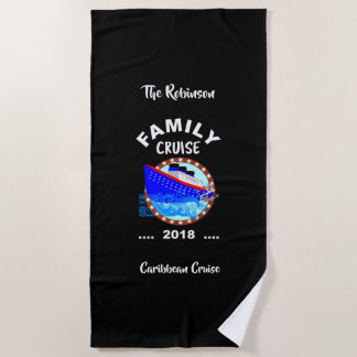 2018 Family Vacation  Cruise Graphic Personalized Beach Towel