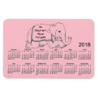 2018 Pink Elephant Calendar by Janz 4x6 Magnet