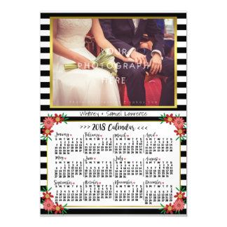 2018 Year Calendar Trendy Floral Stripes | Photo Magnetic Card