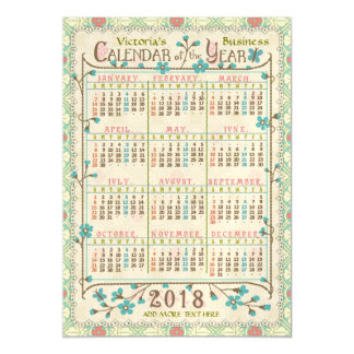 2018 Year Custom Calendar | Victorian Art Nouveau Magnetic Card