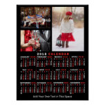 2018 Year Monthly Calendar Black Custom 3 Photos Poster