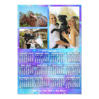 2018 Year Monthly Calendar Boho Watercolor 3 Photo Magnetic Card