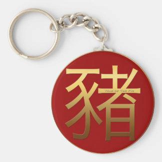 2019 Pig Year Gold embossed effect Symbol R keyC Key Ring