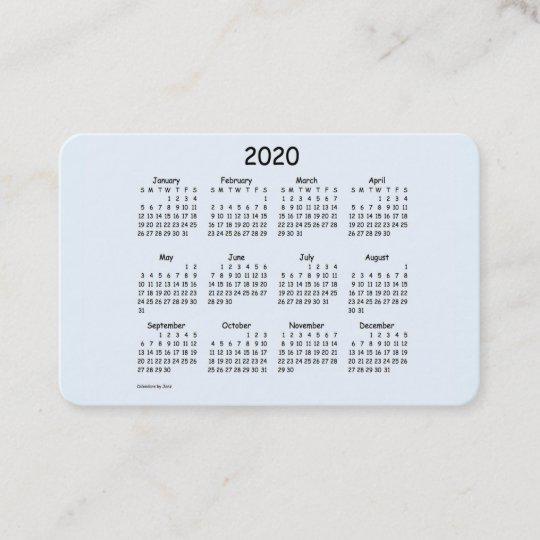 2020 Calendar By Janz Alice Blue Euro Business Card