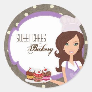 """20 - 1.5""""  Brunette Baker Purple Cup Cak Stickers"""
