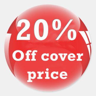 20% Off (Percent) Cover Price Round Glossy Sticker