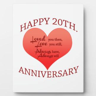 20th. Anniversary Plaque