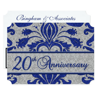 20th Business Anniversary Vintage Blue and Silver Card