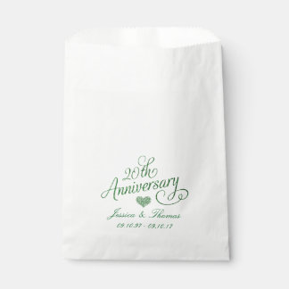 20th Emerald Wedding Anniversary Favor Bag