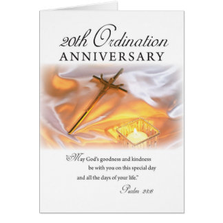 20th Ordination Anniversary, Cross Candle Greeting Card