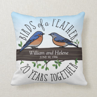 20th Wedding Anniversary, Bluebirds of a Feather Throw Pillow