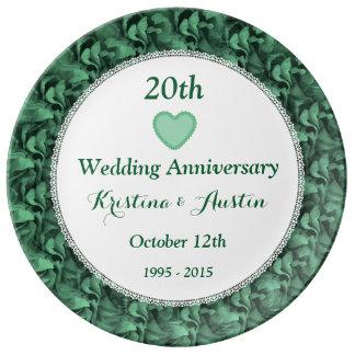 20th Wedding Anniversary Green Flower Petals W20C Porcelain Plate