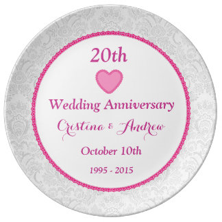 20th Wedding Anniversary Pink and White V01 Porcelain Plate