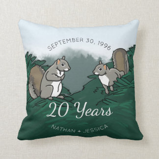 20th Wedding Anniversary Squirrels Throw Pillow