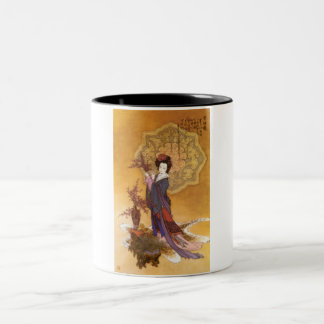 2100-1104~Lady-with-Plum-Flowers-Posters Two-Tone Coffee Mug