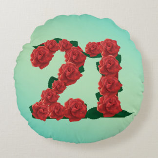 21 number birthday anniversary 21st red rose text round cushion