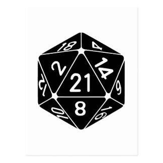 21 Sided 21st Birthday D20 Fantasy Gamer Die Postcard