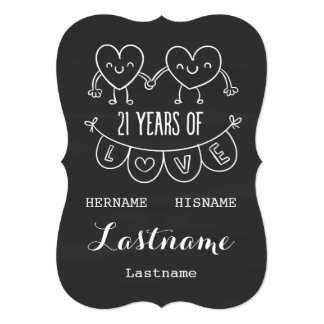 21st Anniversary Gift Chalk Hearts Card