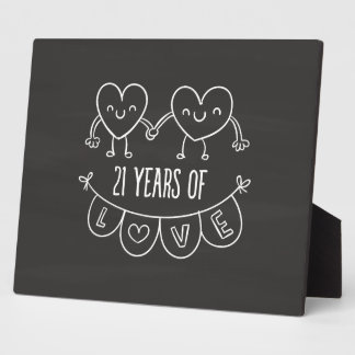 21st Anniversary Gift Chalk Hearts Plaque