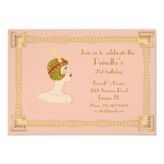 21st,Birthday 21st,Gatsby style,pink peach & gold Card