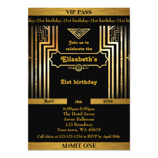 21st,Birthday 21st,Gatsby style,ticket,black gold Card
