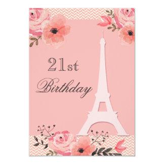 21st Birthday Chic Floral Paris Eiffel Tower 13 Cm X 18 Cm Invitation Card