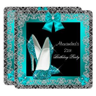 21st Birthday Glitter Teal Blue High Heel Shoe 2 Card