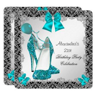 21st Birthday Glitter Teal Blue High Heel Silver Card