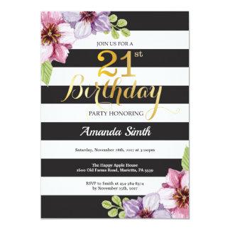 21st Birthday Invitation Women. Floral Gold Black