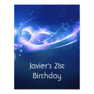 21st Birthday Party Abstract Blue Explode Modern 2 Card