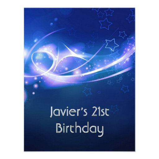 21st Birthday Party Abstract Blue Explode Modern 2 Announcements