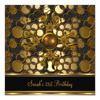 21st Birthday Party Black Gold Ornate Jewel Card