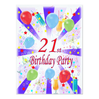 21st Birthday Party Card