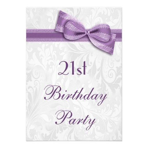 21st Birthday Party Damask and Faux Bow Custom Announcement