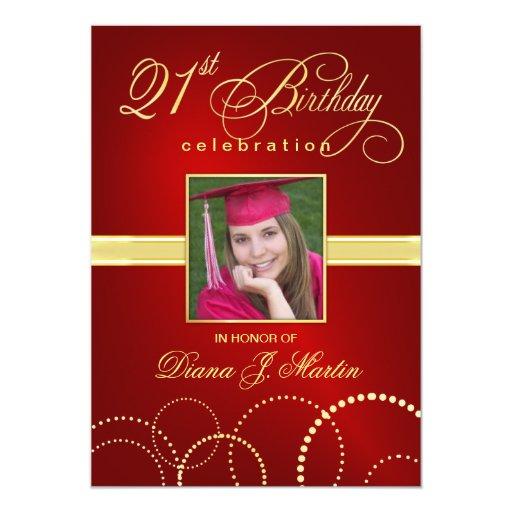 21st Birthday Party Elegant Red Photo Invitations
