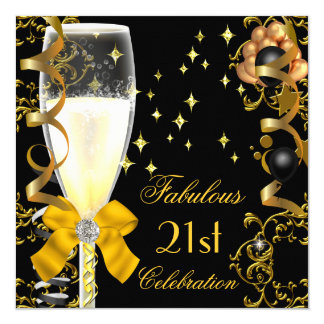 21st Birthday Party Fabulous Champagne Gold Black Card